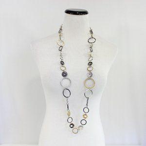 Lia Sophia Long Circle Chain Necklace Silver Gold